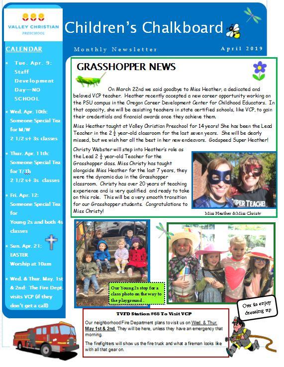 VCP newsletter April 2019 - pg 1